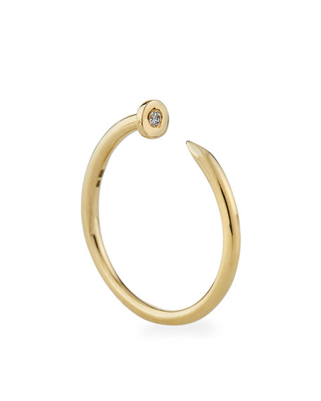 Sydney Evan 14k Yellow Gold Nail Ring w/ Diamond, Size 6.5