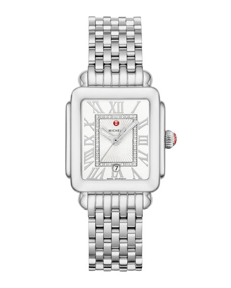 MICHELE Deco Madison Mid Diamond-Dial Watch, Silver/White