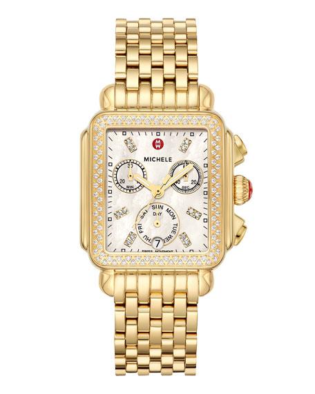 MICHELE Deco Gold Diamond Bracelet Watch