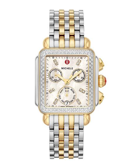 MICHELE Deco Two-Tone Diamond Bracelet Watch