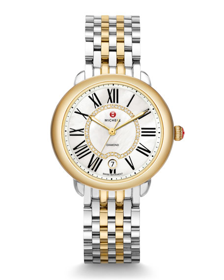 MICHELE 36mm Serein Mid Steel/Gold Diamond-Dial Watch