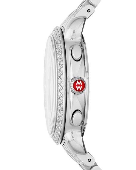 MICHELE 38mm Sidney Diamond Chronograph Watch, Silver/Black