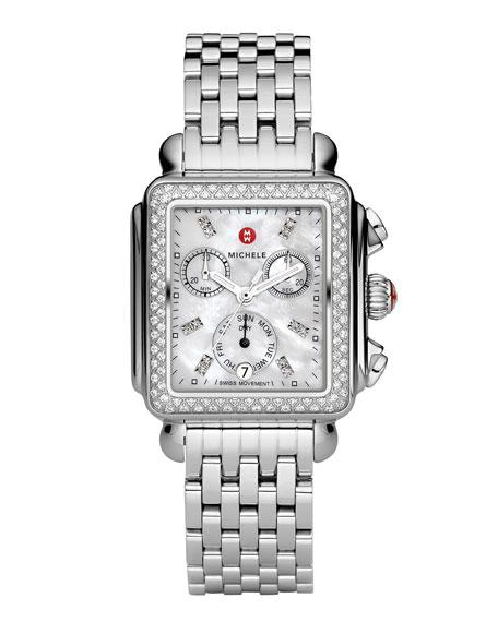 MICHELE Deco 18 Stainless Steel Diamond Bracelet Watch