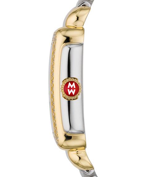 MICHELE Deco Mid Two-Tone Diamond Bracelet Watch