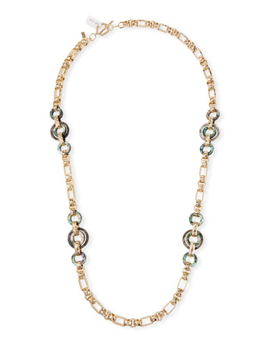Long Horn & Abalone Chain-Link Necklace