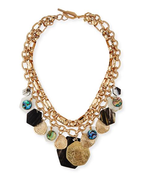 Akola Double-Strand Horn & Abalone Necklace