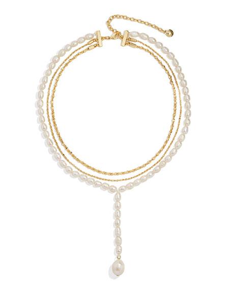 BaubleBar Baltic Y-Drop Necklace w/ Pearls