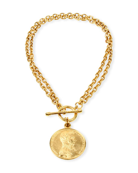 Image 1 of 2: Ben-Amun Moroccan Coin Double-Chain Necklace
