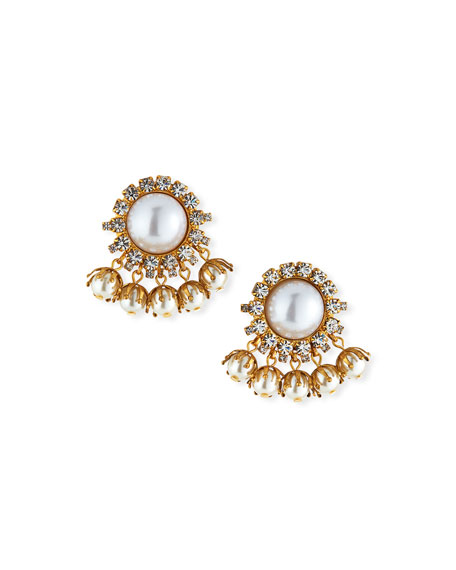 Image 1 of 2: Elizabeth Cole Jacey Crystal & Pearly Earrings