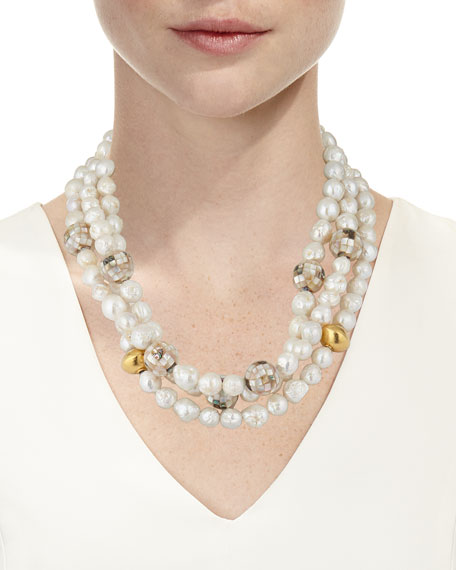 Devon Leigh Multi-Strand Pearl-Gold Accent Necklace