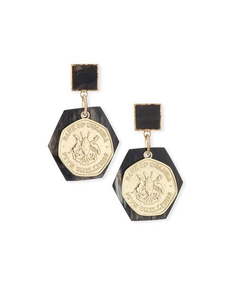 Akola Horn & Coin Statement Earrings, Black