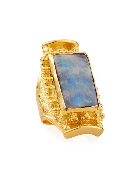 Devon Leigh Rectangular Moonstone Ring, Adjustable