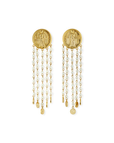 Currency Pearly Chain Earrings