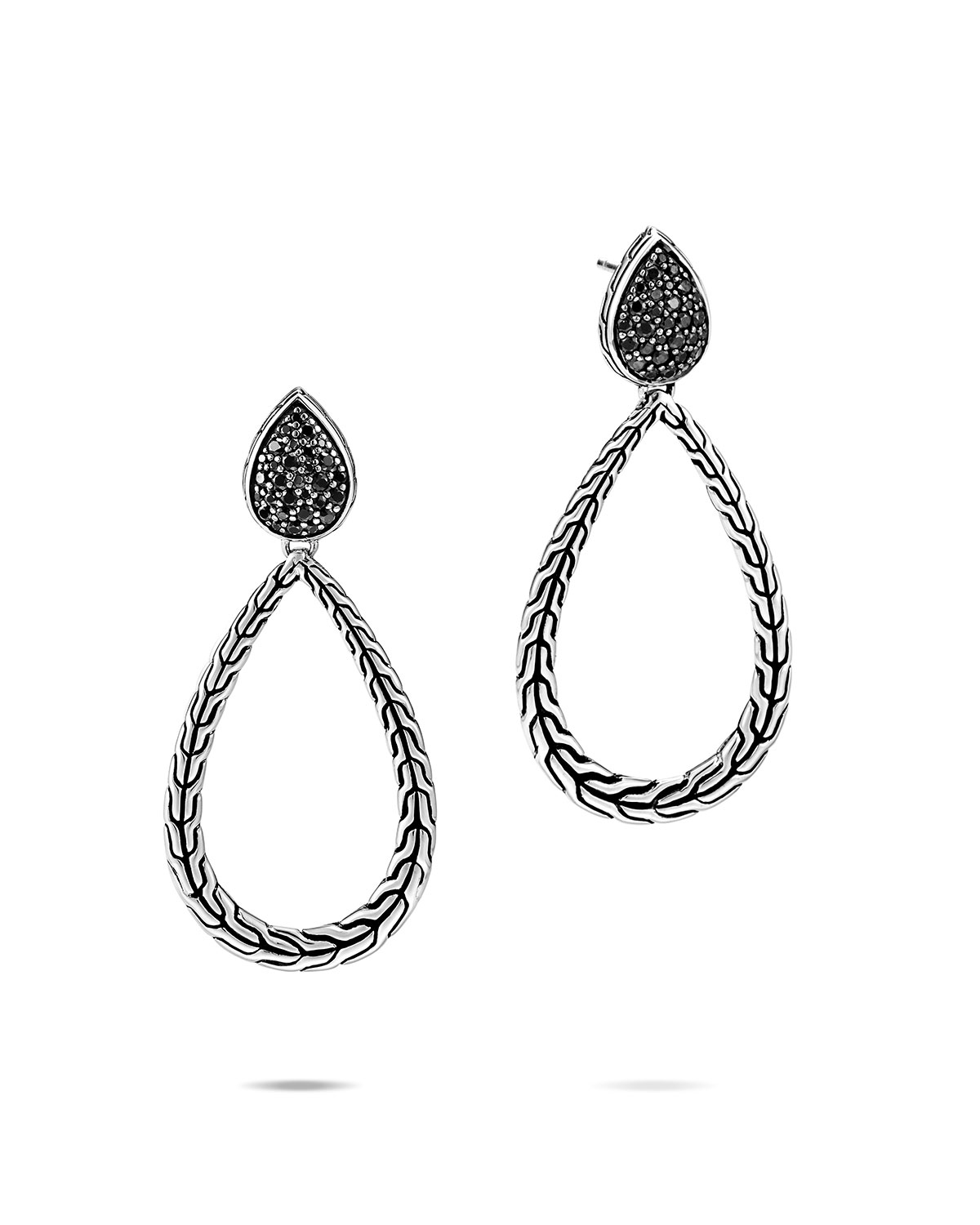 John Hardy Classic Chain Black Spinel Pear-Drop Earrings
