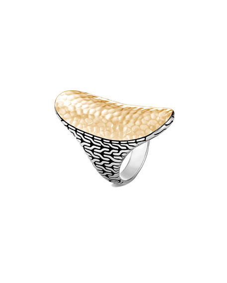 John Hardy Classic Chain Hammered 18k Gold Saddle Ring, Size 7