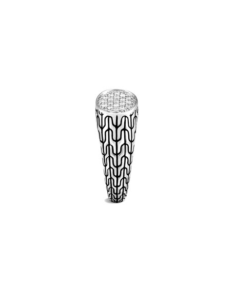 John Hardy Classic Chain Diamond Signet Ring, Size 4-6