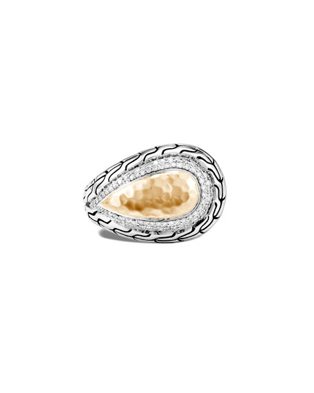 John Hardy Classic Chain Hammered 18k Gold Pear Ring w/ Diamonds, Size 7