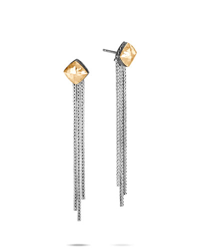 Classic Chain Hammered 18k Gold Chain Earrings
