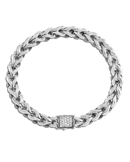 John Hardy Asli Classic Chain Diamond-Clasp Bracelet, Size M