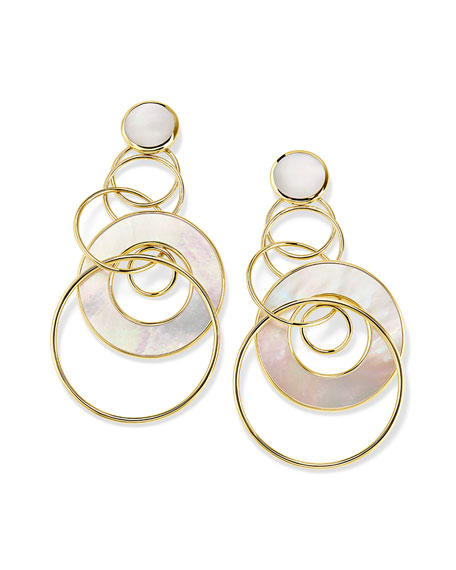 Ippolita 18K Polished Rock Candy Medium Jet Set Earrings in Mother-of-Pearl