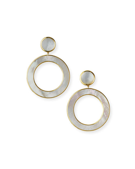 Ippolita 18K Polished Rock Candy Dot & Open Earrings in Mother-of-Pearl