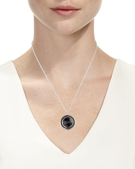 Ippolita Polished Rock Candy Medium Circle Pendant Necklace in Hematite Doublet