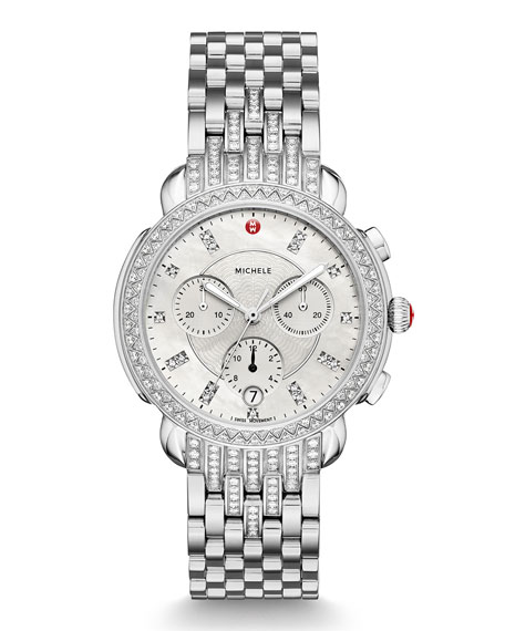 MICHELE 38mm Sidney Steel Diamond Chronograph Bracelet Watch