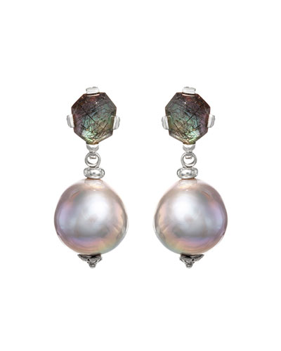 Black Rutilated Quartz Baroque Pearl Drop Earrings