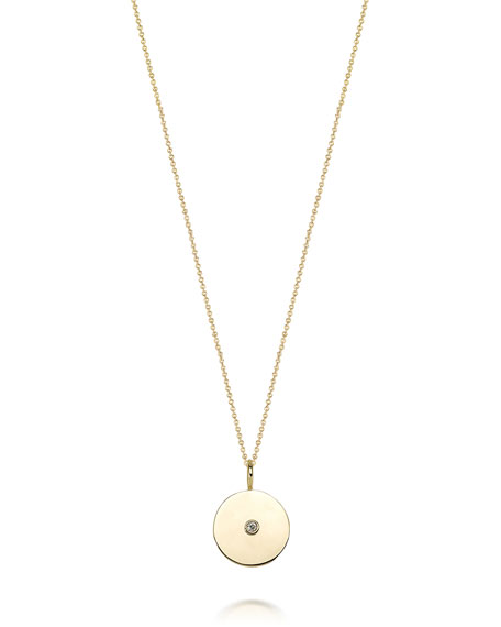 Sarah Chloe Alix 14k Gold 1-Diamond Medallion Necklace