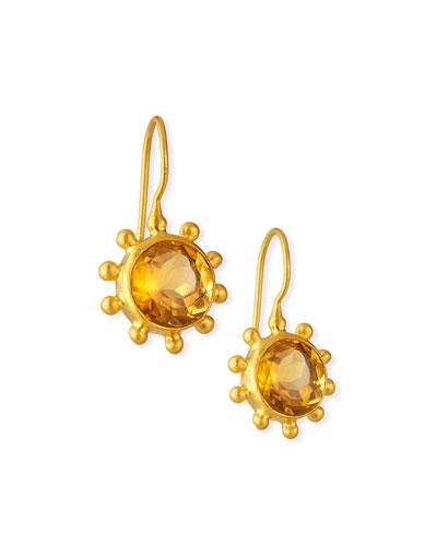 Fine Citrine Pinwheel Earrings