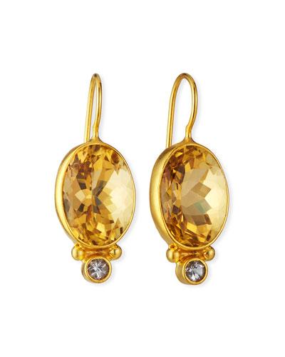 Citrine Oval Drop Earrings