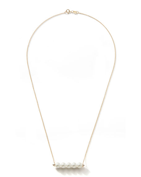 Mizuki 14k Gold 5-Pearl & Diamond Bar Necklace