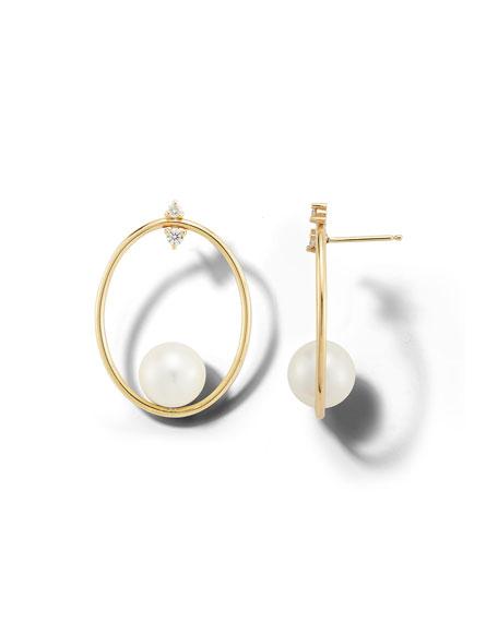 Mizuki 14k Diamond-Post Pearl-Hoop Earrings