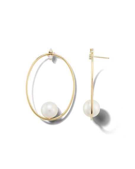 Mizuki 14k Gold Large Oval & Pearl Drop Earrings
