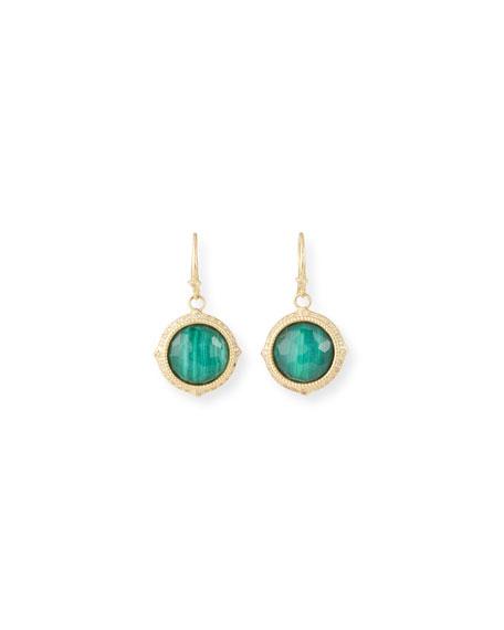 Armenta Old World Malachite/Topaz Doublet Earrings w/ 18k Gold & Diamonds