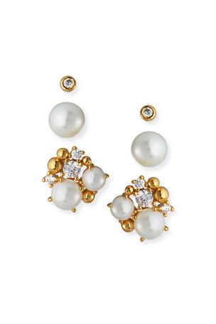 Tai Pearl & Cubic Zirconia Stud Earrings, Set of 3