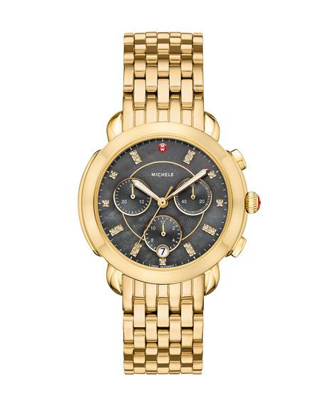 MICHELE 38mm Sidney Diamond-Dial Chronograph Watch, Gold/Gray