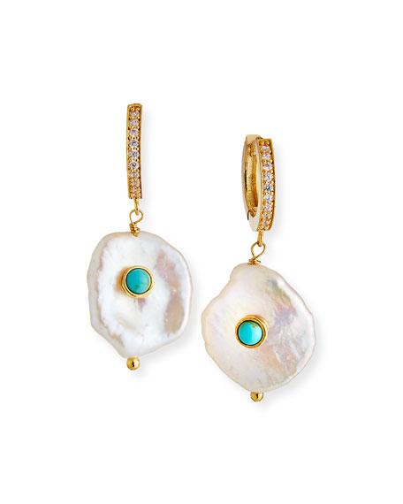 Tai Pearl-Drop Huggie Hoop Earrings