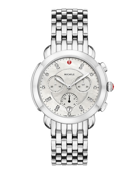 MICHELE 38mm Sidney Diamond-Dial Chronograph Watch, Silver