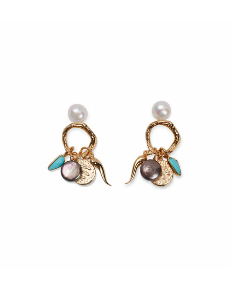 Image 2 of 2: Lizzie Fortunato Alchemy Pearl & Turquoise Dangle Earrings