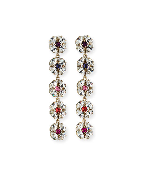 Rebekah Price Dahlia Longer Crystal Earrings, Pink