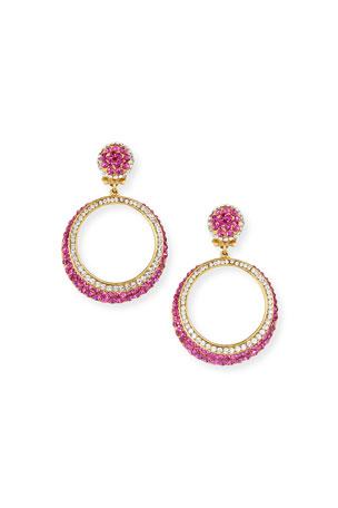 Jose & Maria Barrera Crystal Hoop-Drop Clip Earrings, Pink