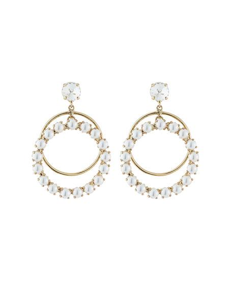 Rebekah Price Zsa Zsa Crystal Hoop-Drop Earrings, Pearly