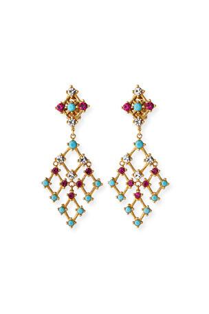 Jose & Maria Barrera Lattice Drop Clip Earrings