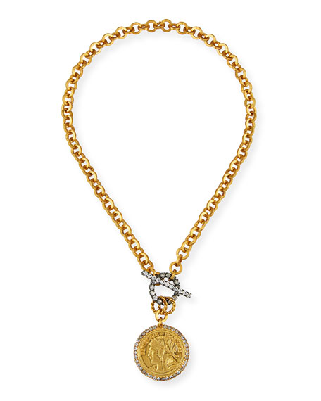 Elizabeth Cole Jordie Crystal-Toggle Necklace