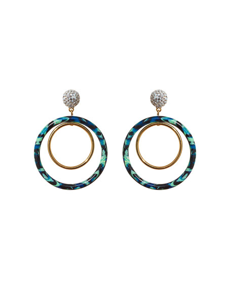 Lele Sadoughi Pave Double-Hoop Drop Earrings