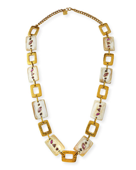 Ashley Pittman Bustani Light Horn & Red Stone Necklace
