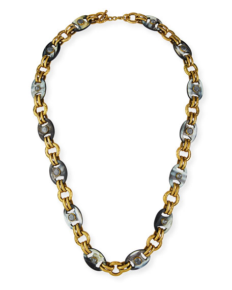 Ashley Pittman Long Dark Horn Mixed-Link Necklace