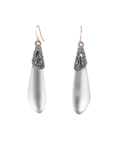 Crystal Encrusted Capped Wire Earrings  Gray