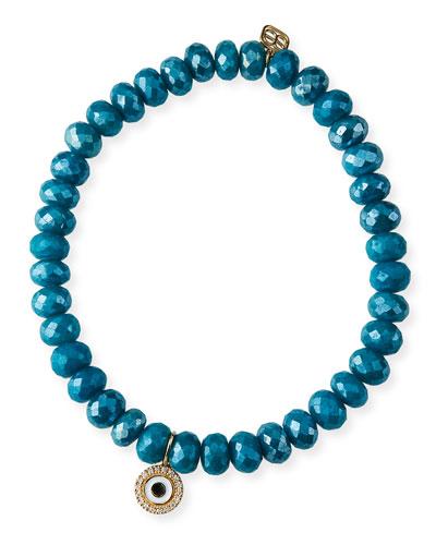 14k Teal Quartz Evil Eye Disc Bracelet
